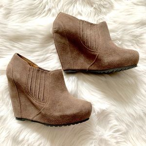 Suede Wedge Bootie in Taupe